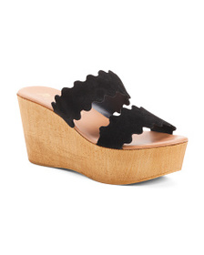 MATISSE Made In Italy Suede Scalloped Sandals