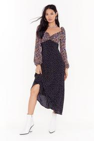 Nasty Gal Black With Mixer Floral Midi Dress
