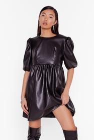 Nasty Gal Black Faux Leather You're in or Out Puff