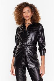 Nasty Gal Black Faux Leather Waist My Time Belted