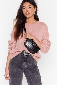 Nasty Gal Soft pink What's the Pointelle Knit Swea