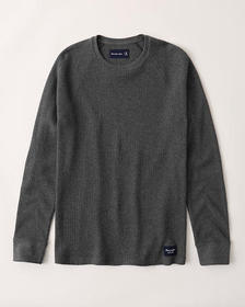 Long-Sleeve Waffle Knit Tee, DARK GREY