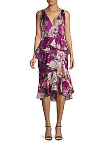 Floral Silk Cocktail Dress ORCHID
