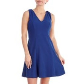 LONDON TIMES Petite Sleeveless V Neck Fit and Flar