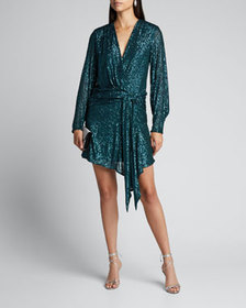 Jonathan Simkhai Sequin Embroidered Deep V-Neck Dr