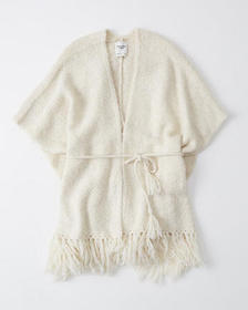 Tie-Front Sweater Poncho, WHITE
