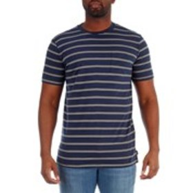 WESTY Mens Thin-Striped T-Shirt With Chest Pocket