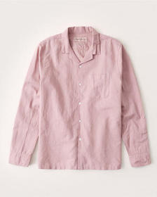Linen-Blend Resort Collar Button-Up Shirt, PINK
