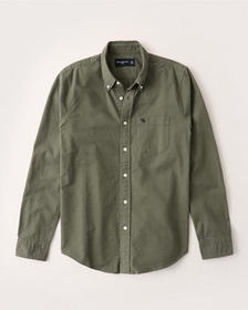 Oxford Button-Up Shirt, OLIVE