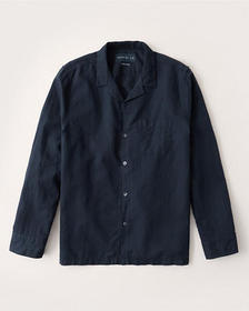 Linen-Blend Resort Collar Button-Up Shirt, NAVY BL