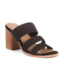 REBELS Woven Suede Strap Heeled Sandals