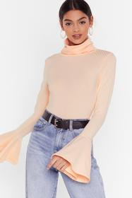 Nasty Gal Nude As if We'd Flare Turtleneck Ribbed