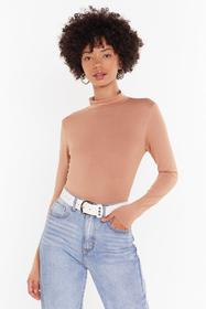 Nasty Gal Camel Forget About Knit High-Neck Top
