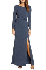 Vince Camuto Boatneck Long Sleeve Gown