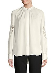 Elie Tahari High-Low Silk Shirt FOAM
