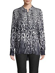 Elie Tahari Leopard Long-Sleeve Shirt QUARTZ MULTI