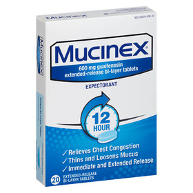 Mucinex 12 Hour Chest Congestion Expectorant Table