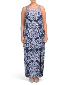 JS COLLECTIONS Plus Hand Embroidered Soutache Gown