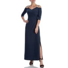 Petite Cold Shoulder Rhinestone Strap Long Dress