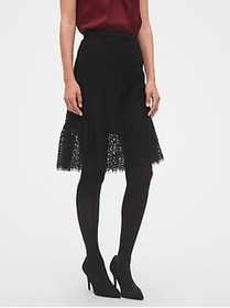 Factory Lace Flounce Pencil Skirt