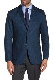 Tallia Navy Paisley Two Button Notch Lapel Blazer