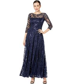 Tahari by ASL Novelty Sequin Sleeved Gown