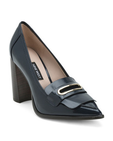 NINE WEST Leather Buckle Detail Pointy Toe Pumps