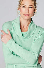 Pure Jill Double-Faced Cowl-Neck Top