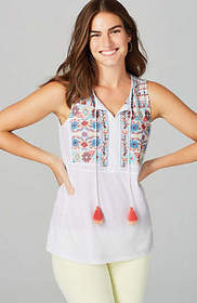 Embroidered Sleeveless Knit Top