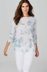 Linen & Cotton Tiered-Sleeve Knit Top