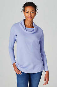 Textured-Knit Cowl-Neck Tunic
