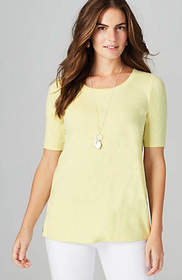 Pima Scoop-Neck Elbow-Sleeve Tee