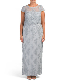 ADRIANNA PAPELL Plus Lace Column Gown