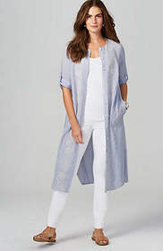 Embroidered Tab-Sleeve Long Tunic