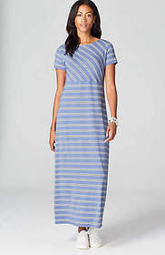 Boat-Neck Knit Maxi Dress