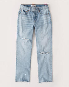 Mid Rise Boyfriend Jeans, LIGHT RIPPED WASH