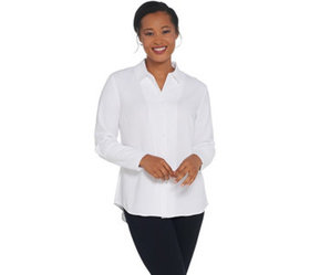 Elizabeth & Clarke Woven Button-Front Collared Top