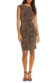 Vince Camuto Metallic Animal Stripe Sheath Dress