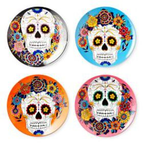 Day of the Dead Salad Plates, Set of 4, Mixed