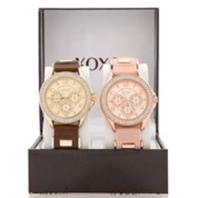 XOXO Womens Crystal Bezel Chronograph Silicone Wat