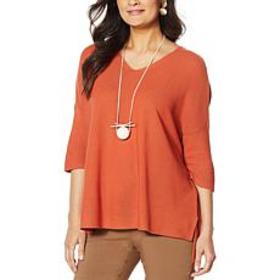 """""""As Is"""" MarlaWynne Link Stitch V-Neck Pullover Swe"""