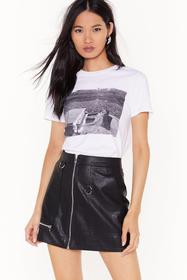 Nasty Gal Black Zip Up Your Troubles Faux Leather