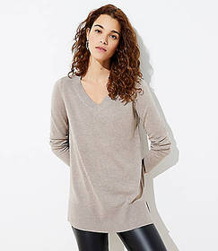 Luxe Knit V-Neck Tunic Sweater