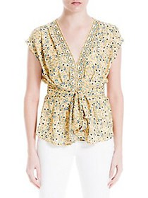Max Studio Tied V-Neck Floral Tapestry Top YELLOW