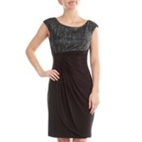 Petite Sleeveless Metallic Dress with Sarong Skirt