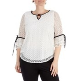 OLIVIA BLU Plus Size Circle Accent V-Neck Crochet