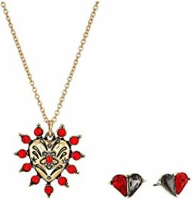 Betsey Johnson Heart Necklace/Earrings Set