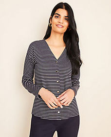 Striped Drop Shoulder Cardigan