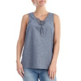 HARVE BENARD Sleeveless Lace-Up Neck Chambray Top