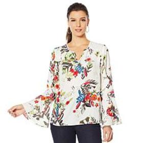 """""""As Is"""" Colleen Lopez Printed Ruffle Blouse"""